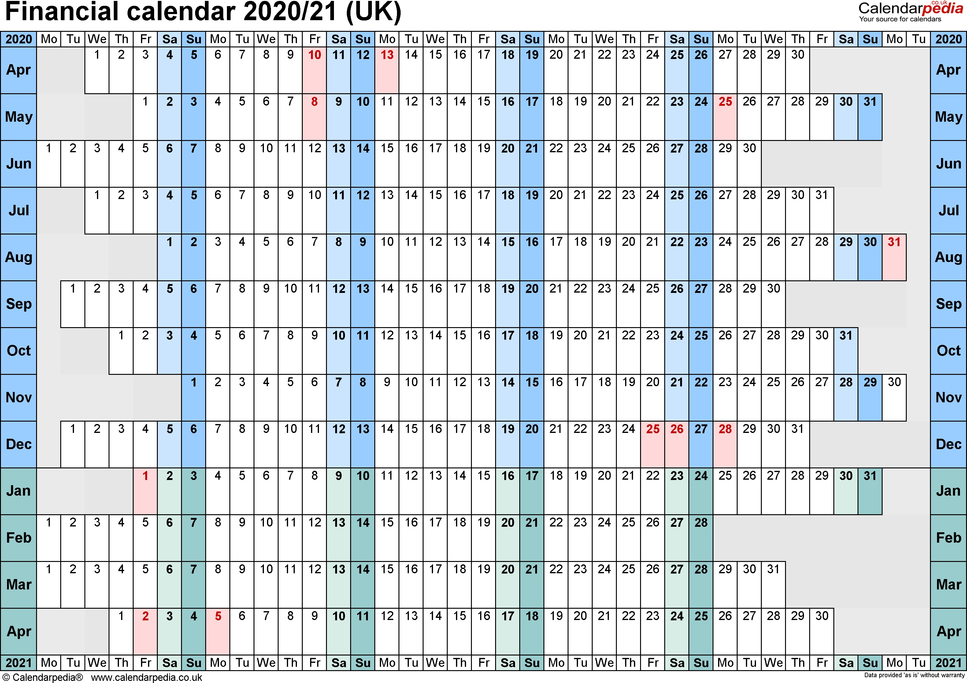 Financial Calendars 2020/21 (Uk) In Pdf Format  2020 2020 Financial Calendar