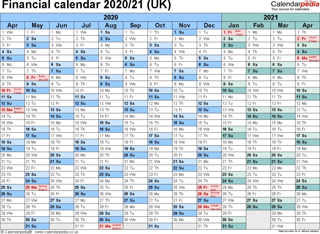 Financial Calendars 2020/21 (Uk) In Pdf Format  2020 2020 Financial Year Calendar