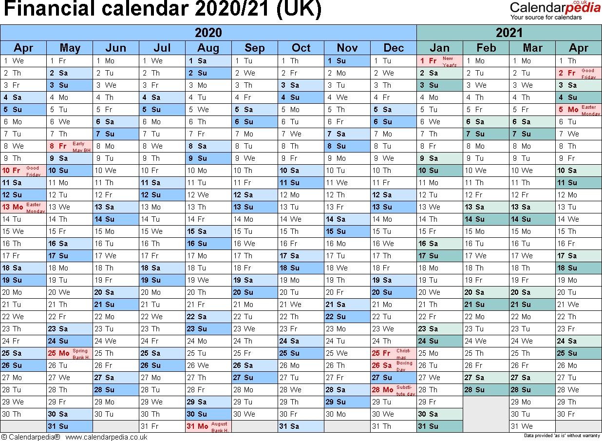 Financial Calendars 2020/21 (Uk) In Pdf Format  2020 Financial Year Calender