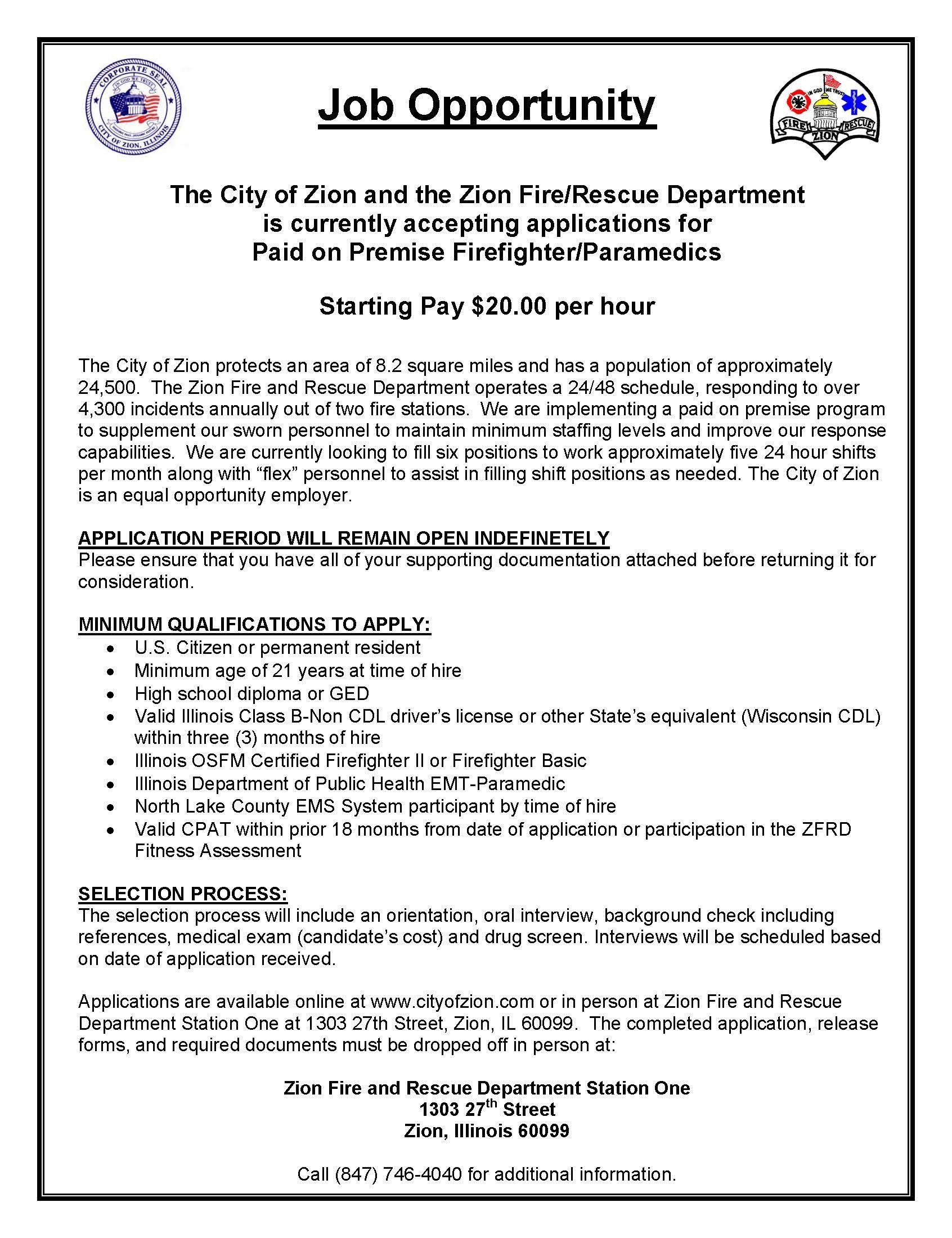 Fire & Rescue Department - City Of Zion  Il Fd Shift Schedule