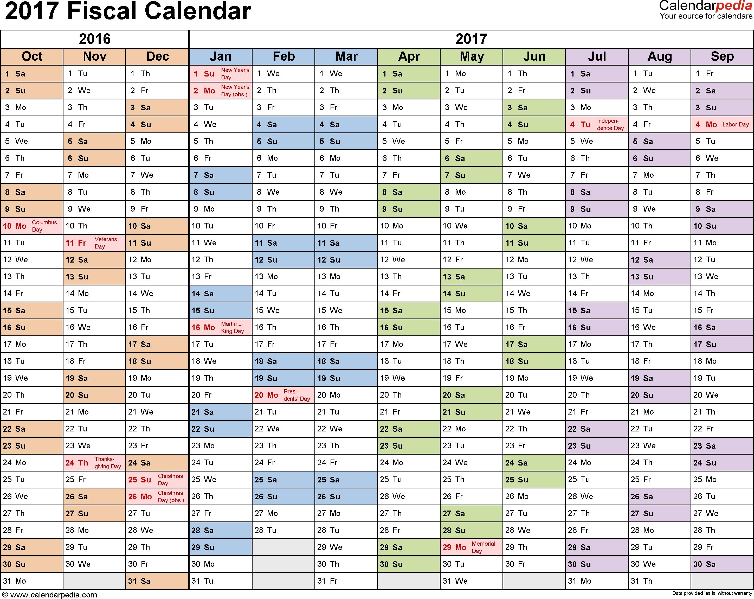 Fiscal Calendars 2017 As Free Printable Pdf Templates  Financial Calendar Australia