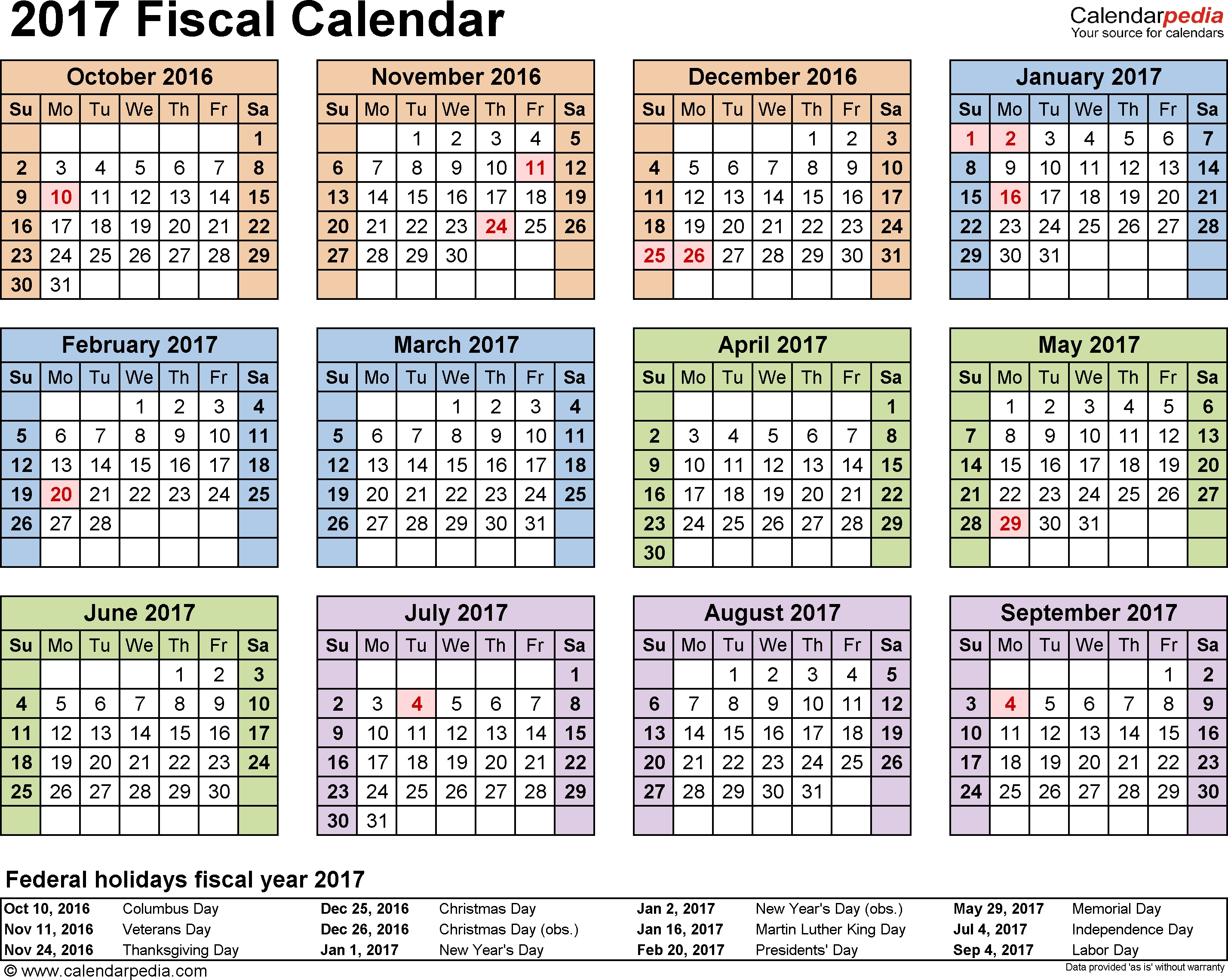 Fiscal Calendars 2017 As Free Printable Pdf Templates  Financial Year Australia
