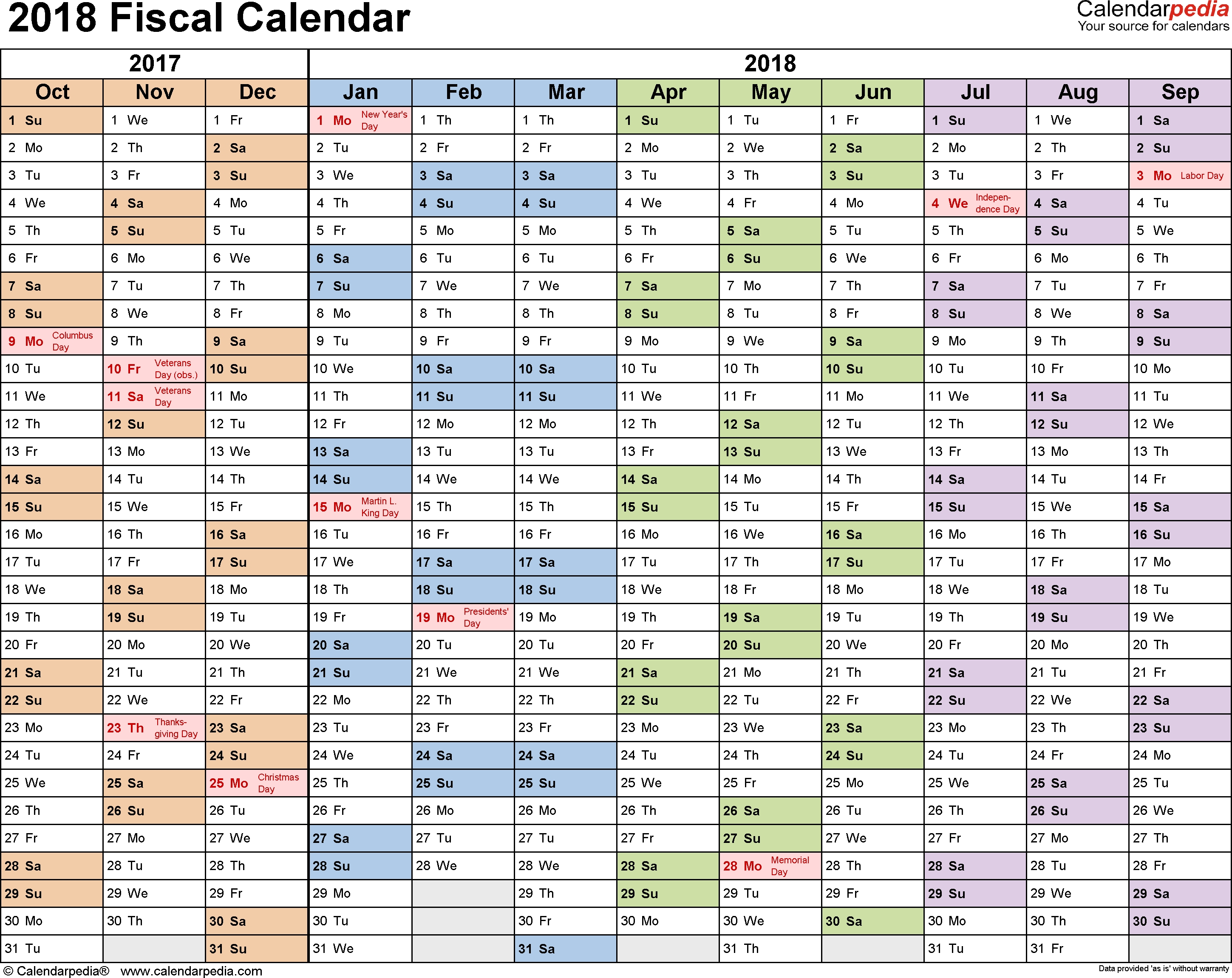 Fiscal Calendars 2018 As Free Printable Pdf Templates  Financial Year Dates