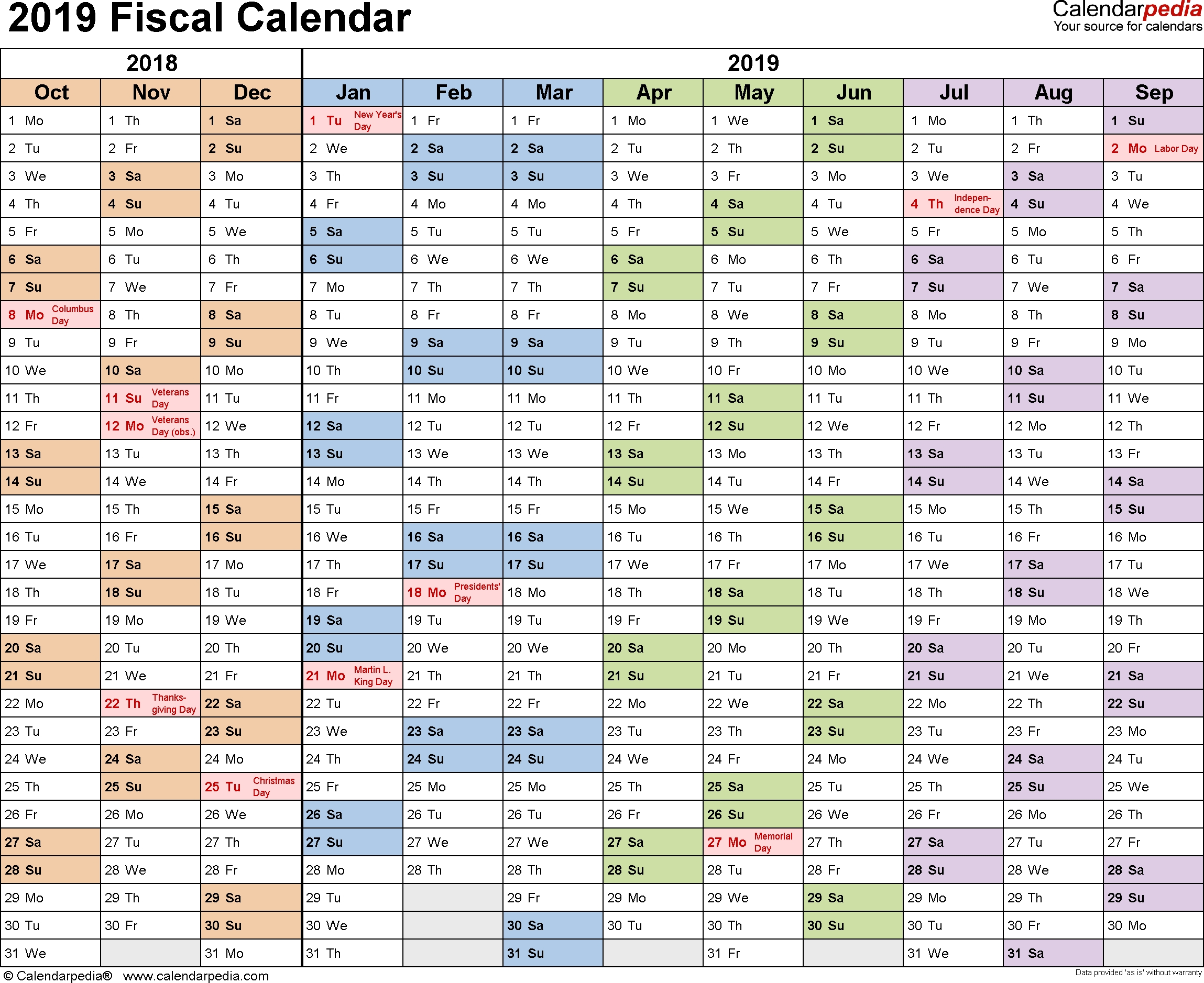Fiscal Calendars 2019 As Free Printable Excel Templates  Bill Pay Calendar 2020