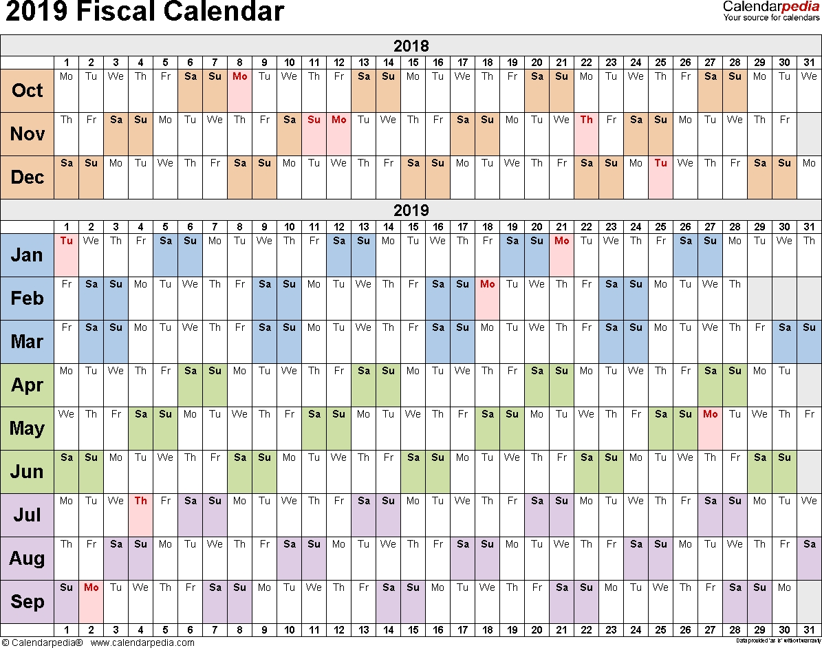 Fiscal Calendars 2019 As Free Printable Pdf Templates  Financial Year Calander