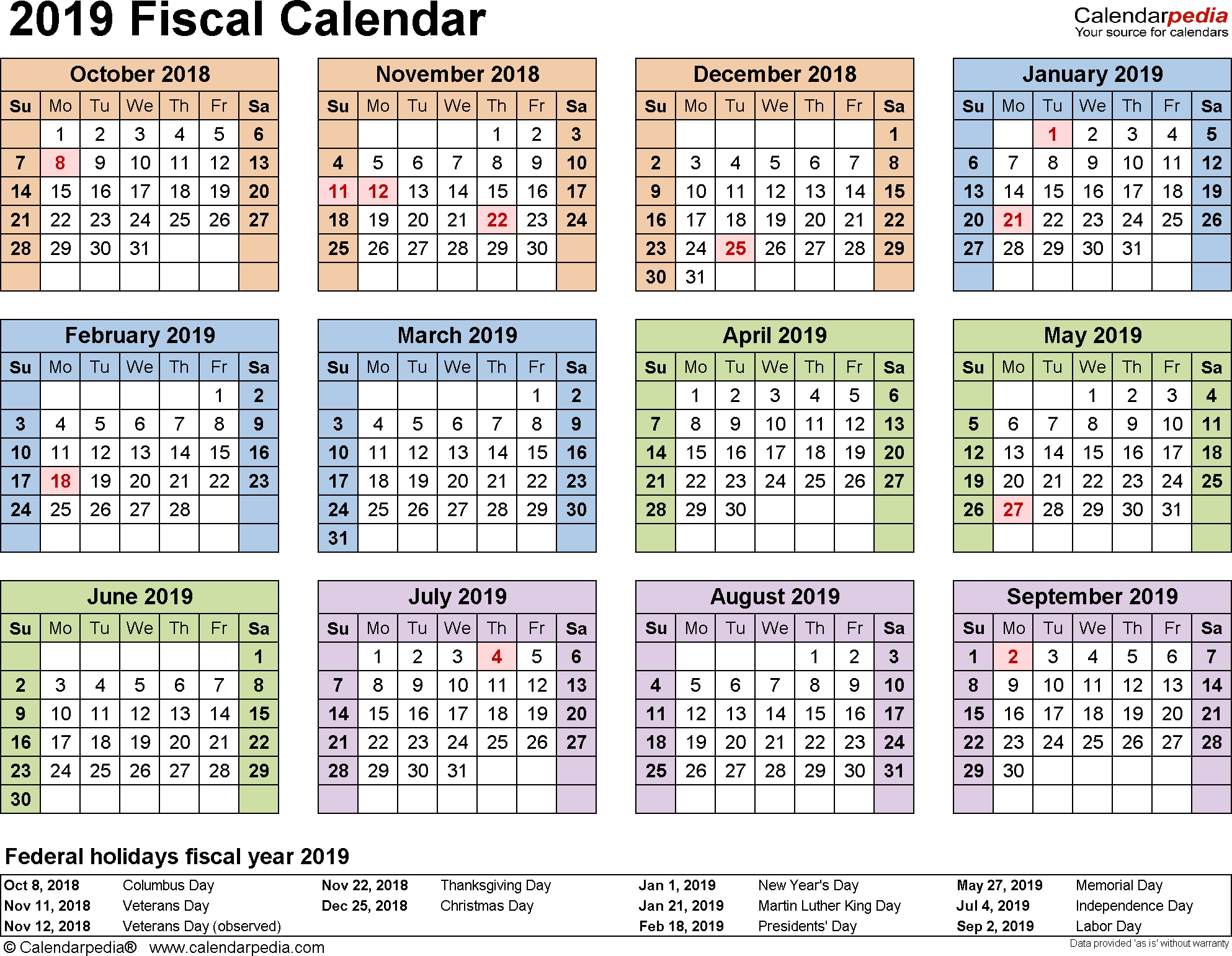 Fiscal Calendars 2019 As Free Printable Pdf Templates  Financial Year Dates