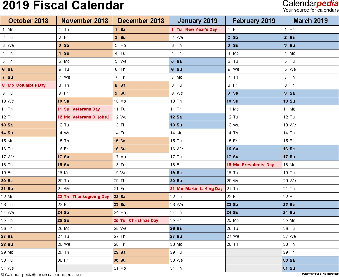 Fiscal Calendars 2019 As Free Printable Word Templates  Australia Financial Year