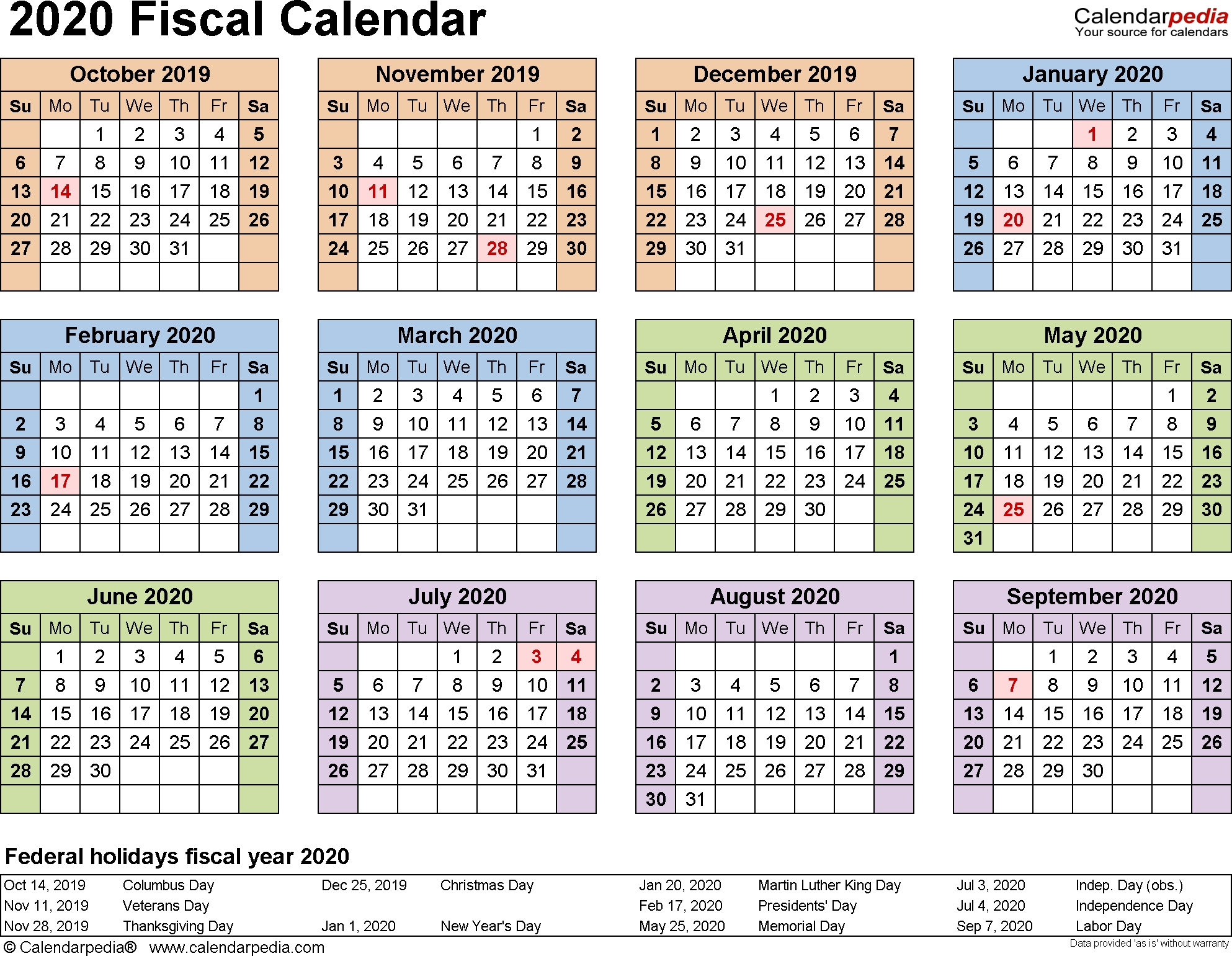 Fiscal Calendars 2020 As Free Printable Pdf Templates  2020 Financial Year Dates