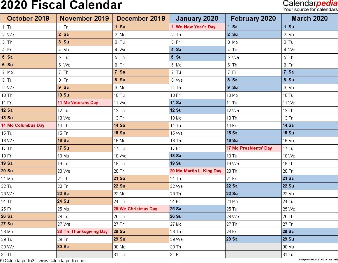 Fiscal Calendars 2020 As Free Printable Pdf Templates  Australian Financial Year Dates 2020