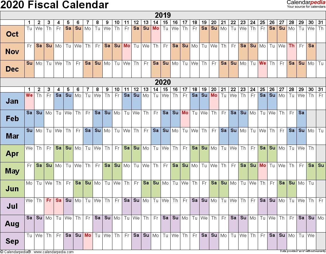 Fiscal Calendars 2020 As Free Printable Pdf Templates  Financial Year 2020 Australia Dates