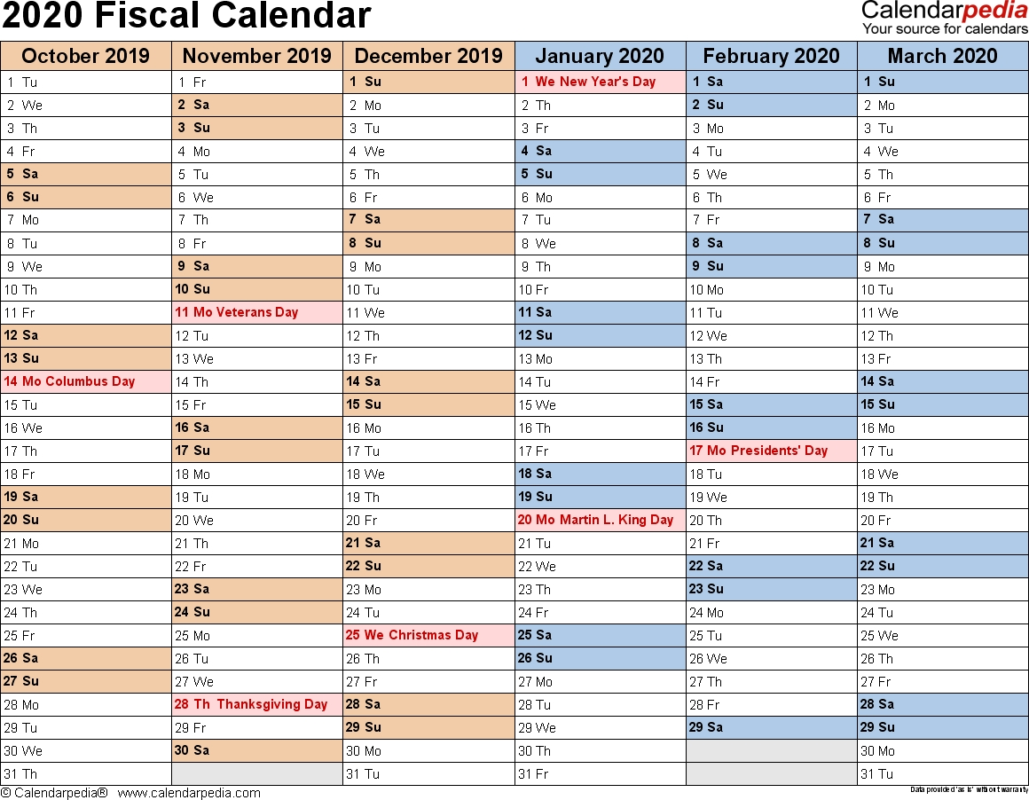 Fiscal Calendars 2020 As Free Printable Pdf Templates  Financial Year Australia