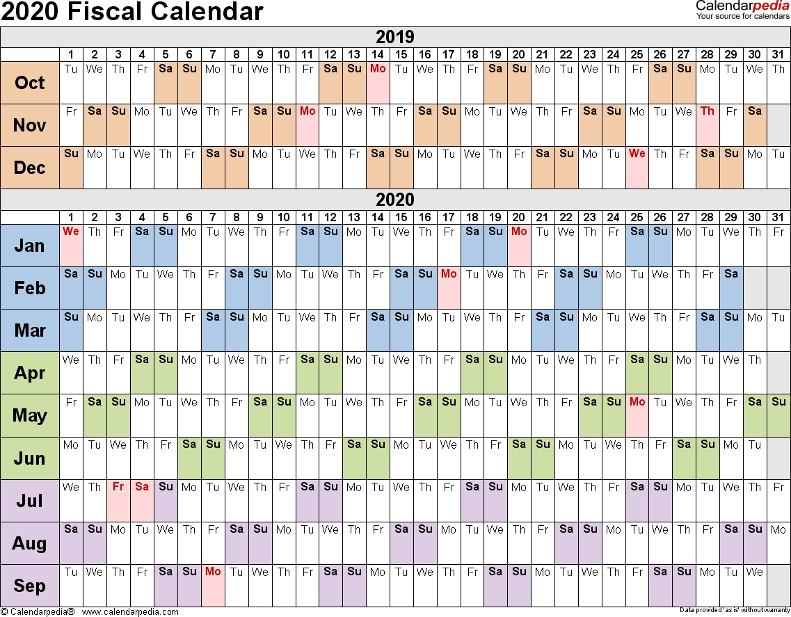Fiscal Calendars 2020 As Free Printable Pdf Templates  Financial Year Dates 2020 Australia