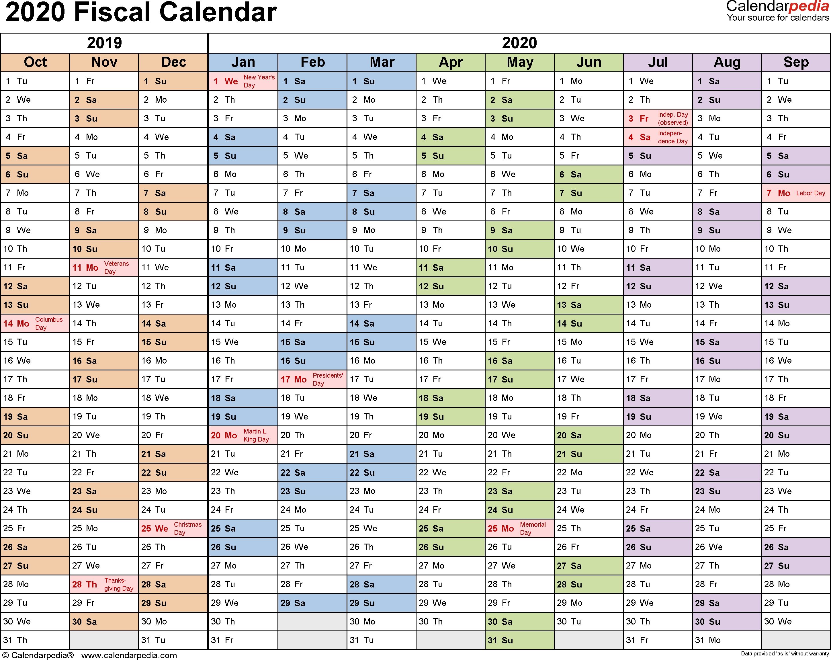 Fiscal Calendars 2020 As Free Printable Pdf Templates  Financial Year Dates