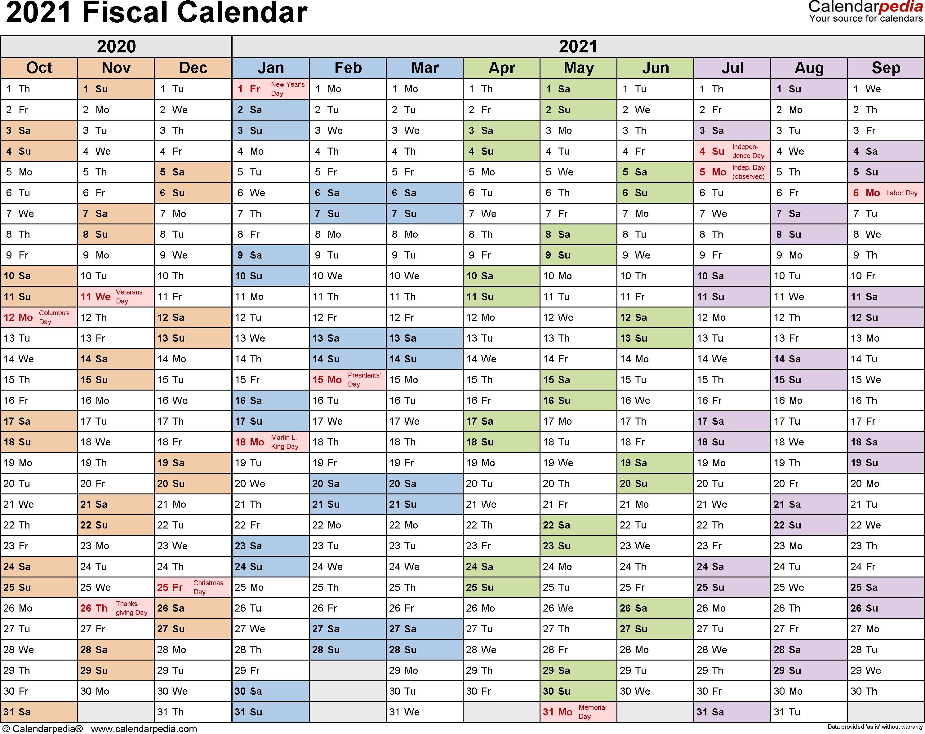 Fiscal Calendars 2021 As Free Printable Pdf Templates  Australian Financial Year Dates