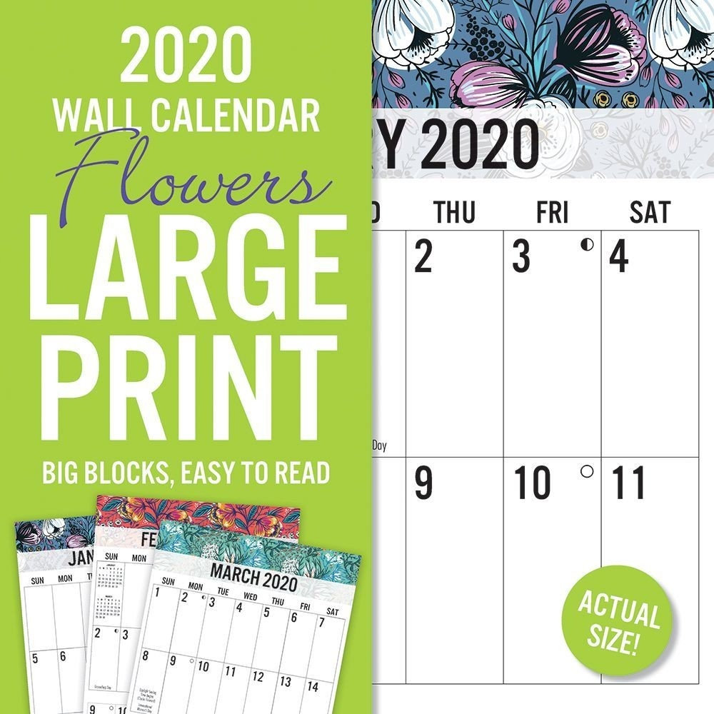 Floral Large Print 2020 Wall Calendar  Print Full Page Calendar 2020
