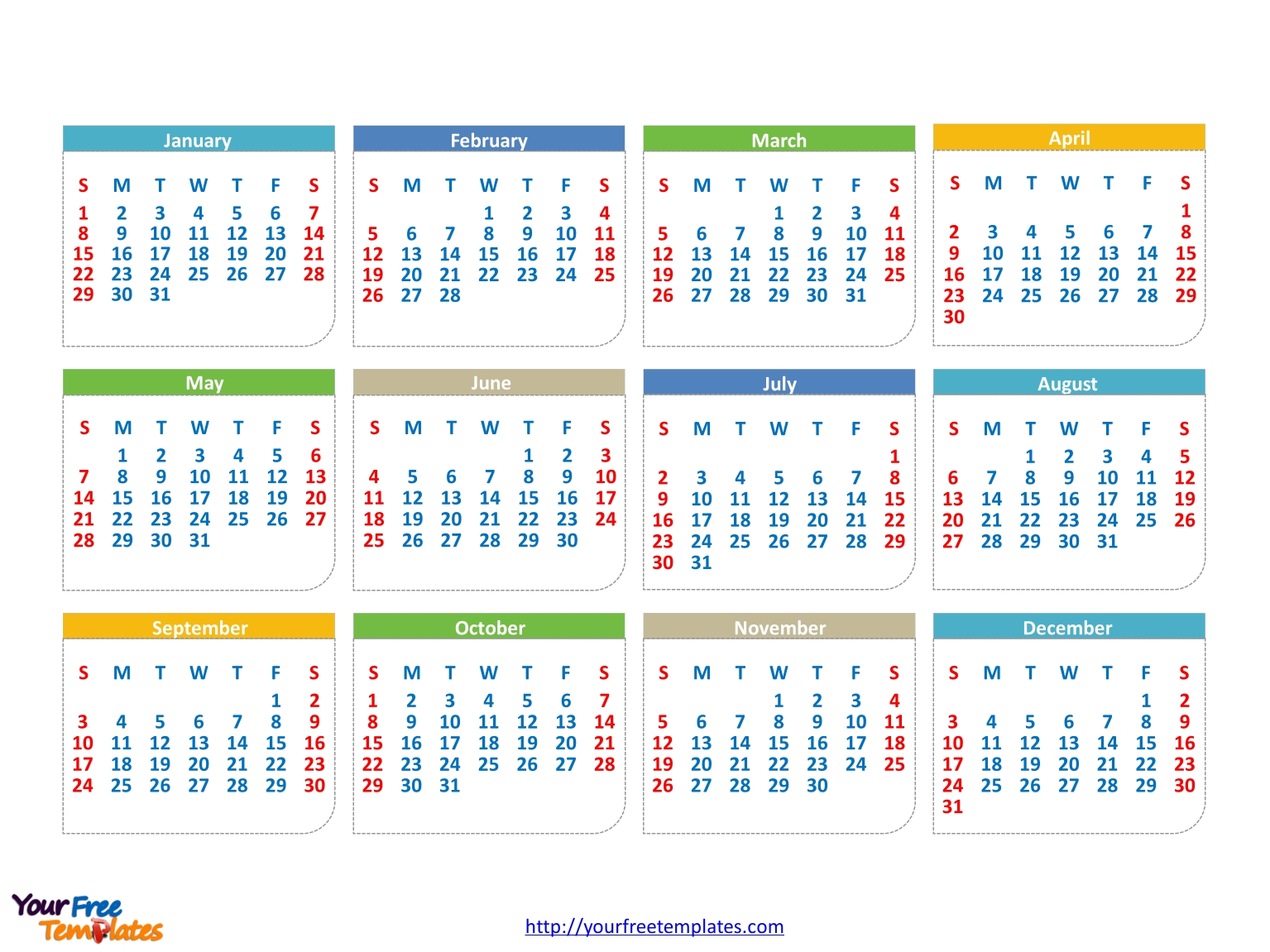 Free 2017 Calendars Powerpoint Template - Free Powerpoint  Calendar At A Glance Template Powerpoint