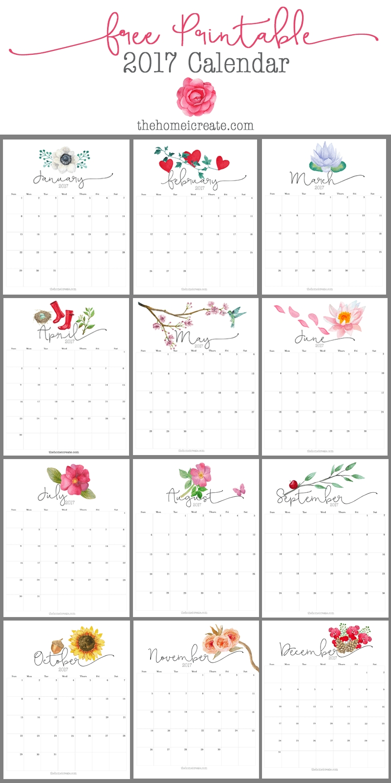 Free 2017 Printable Calendar | All Things Craft*** | Free  Pretty Monthly Calendar