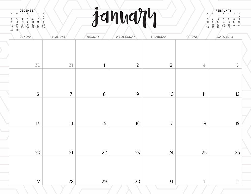 Free 2019 Printable Calendars - 46 Designs To Choose From!  Pretty Monthly Calendar