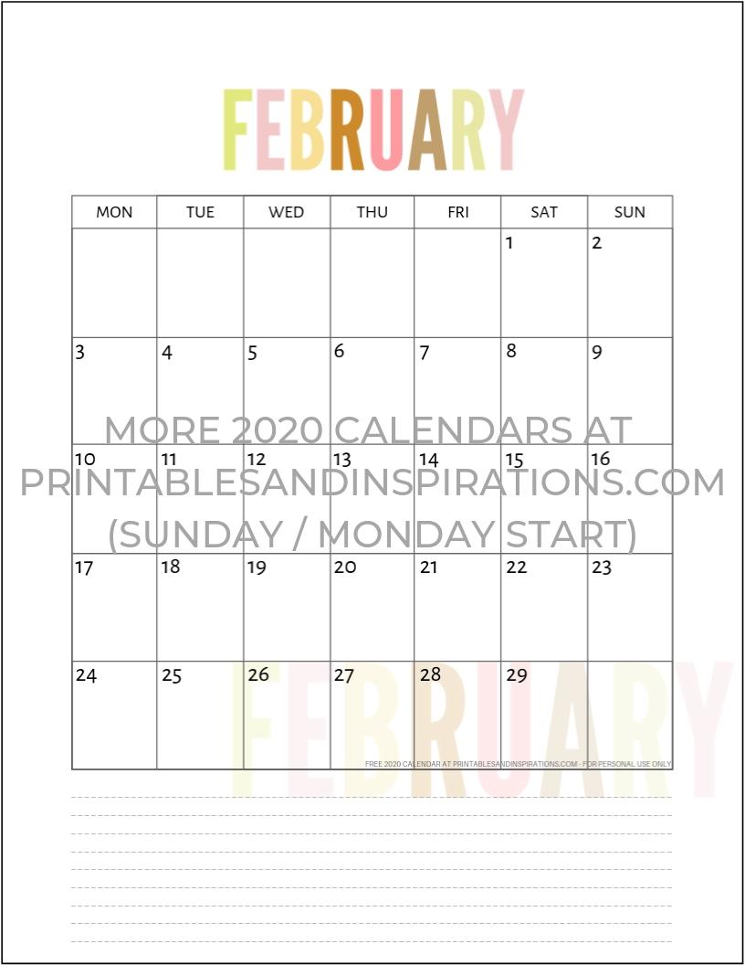 Free 2020 Calendar Printable Planner Pdf | Calendar  Full Page Monthly Calendar Printable 2020