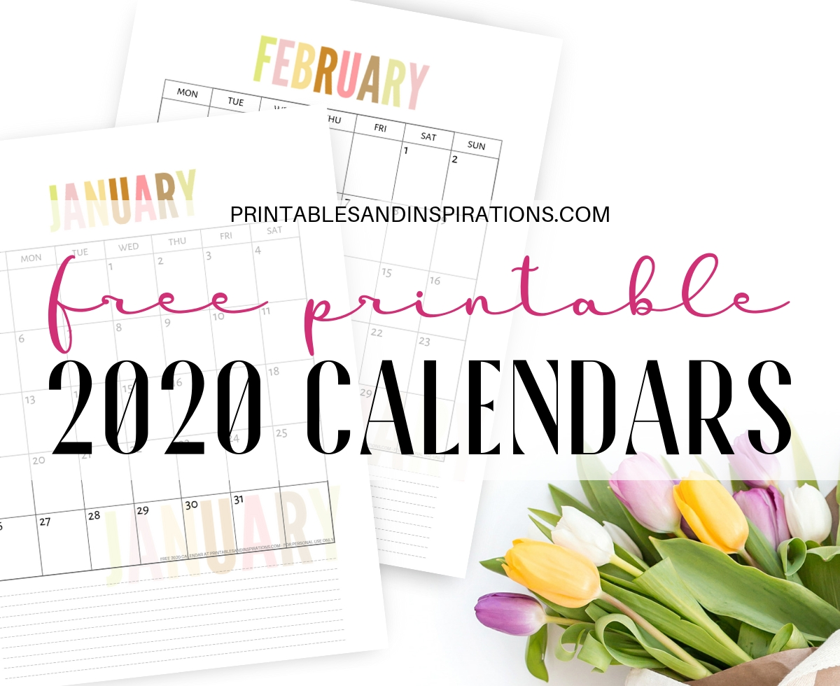 Free 2020 Calendar Printable Planner Pdf - Printables And  Full Page Monthly Calendar Printable 2020