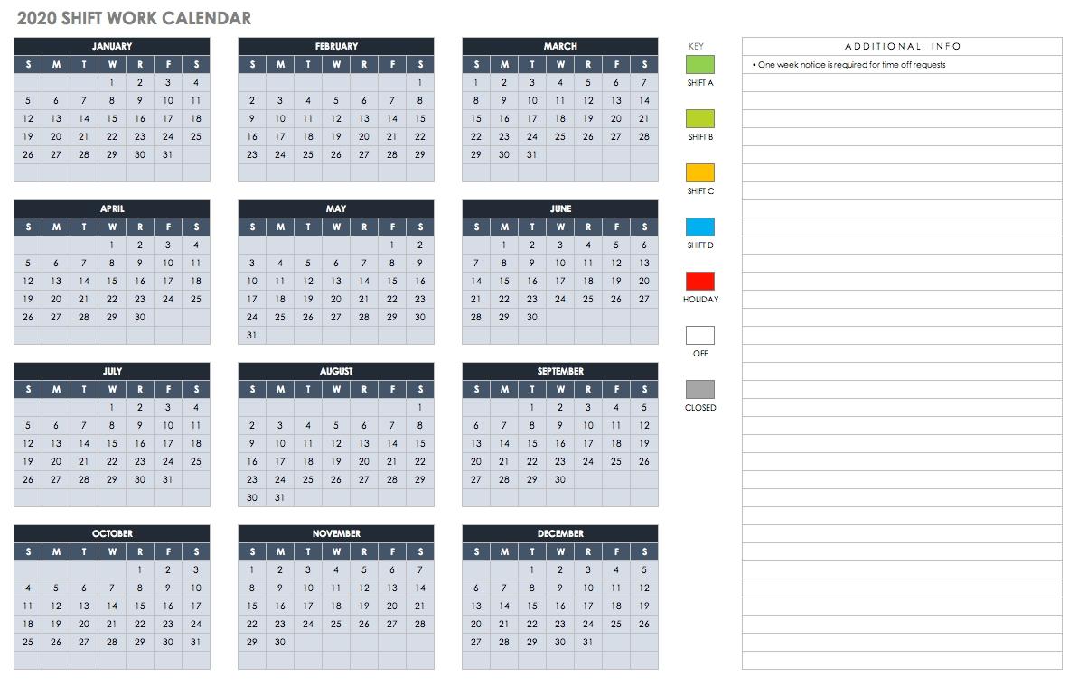 Free Blank Calendar Templates - Smartsheet  Bill Pay Calendar 2020