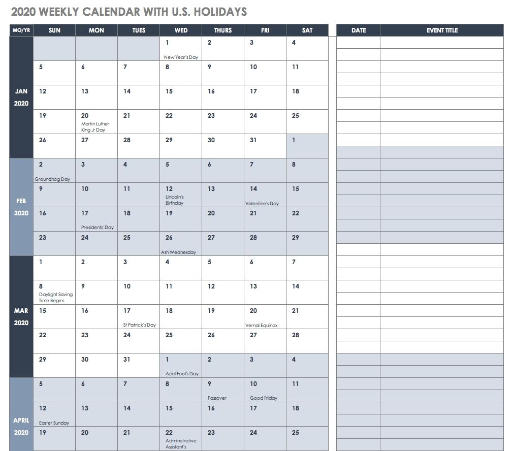Free Blank Calendar Templates - Smartsheet  Summer Calendar Templates