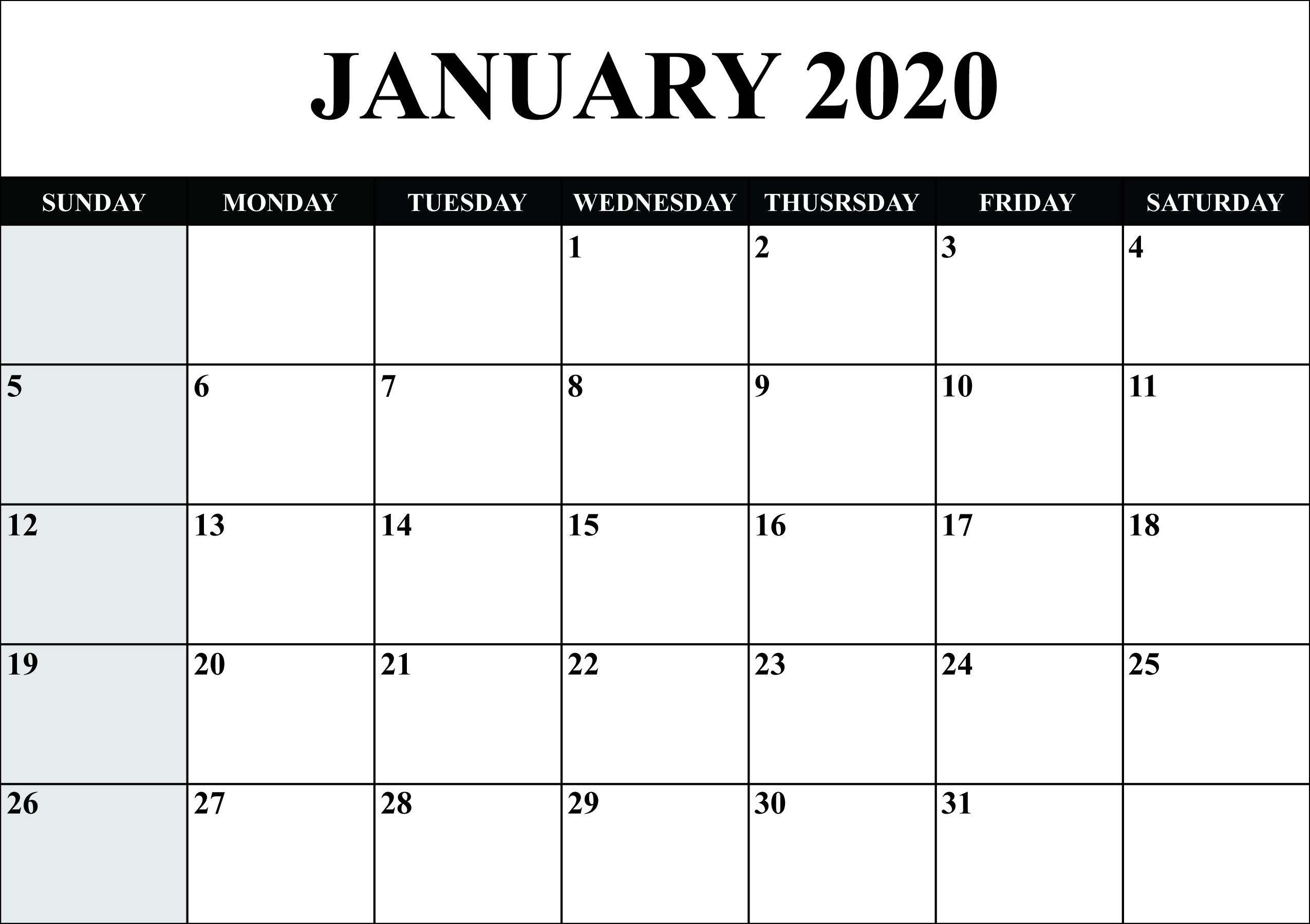 Free Blank January 2020 Calendar Printable In Pdf, Word  Blank Calendar Fill In 2020 Printable