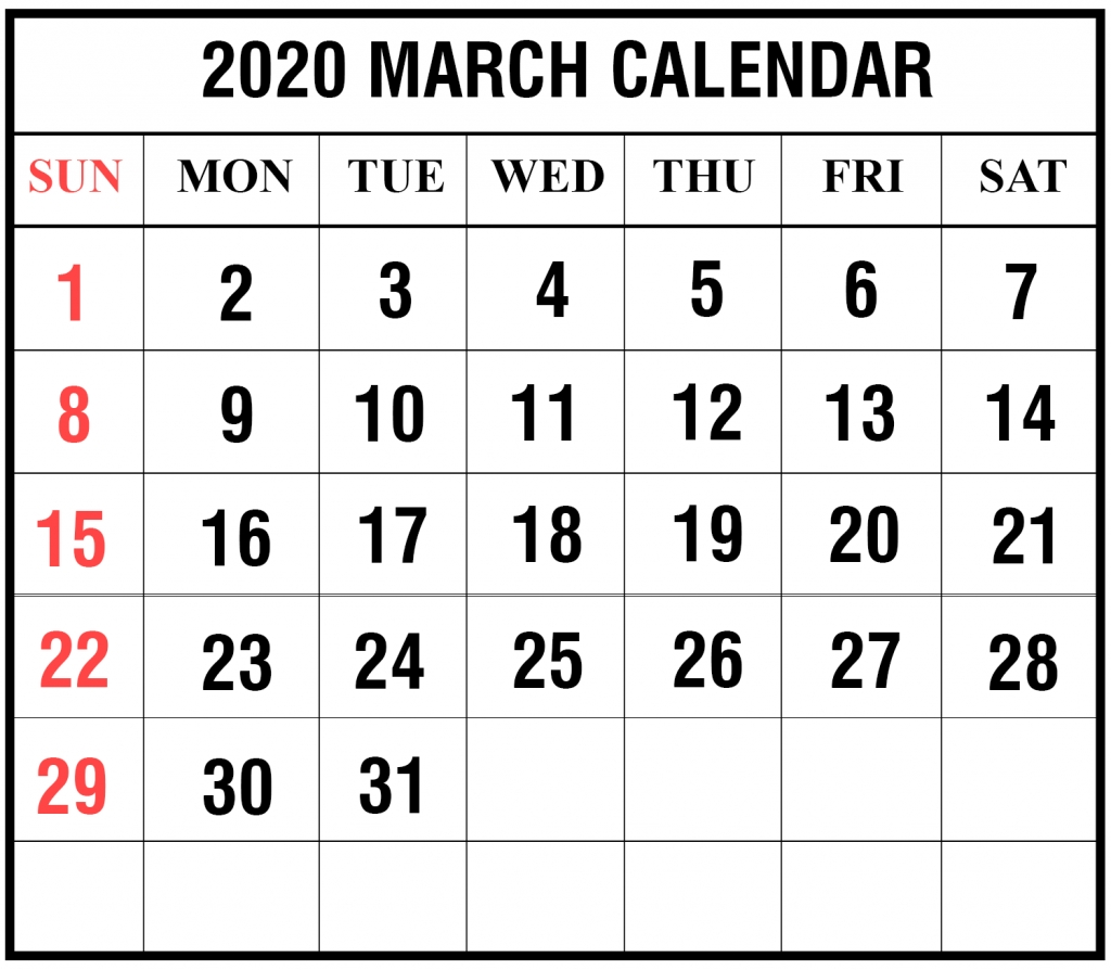 Free Blank March 2020 Calendar Printable In Pdf, Word, Excel  National Food Days 2020 Printable