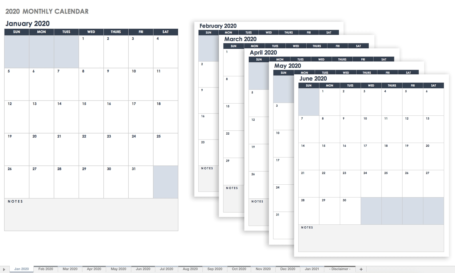 Free Google Calendar Templates | Smartsheet  2020 Attendane Tracking Calendar