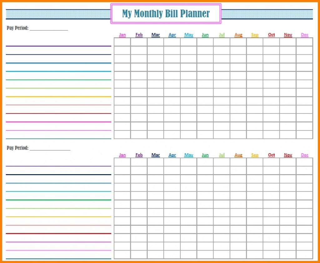 Free Ill Pay Checklists Calendars Pdf Word Excel Template  Free Printable Monthly Payment Sheet