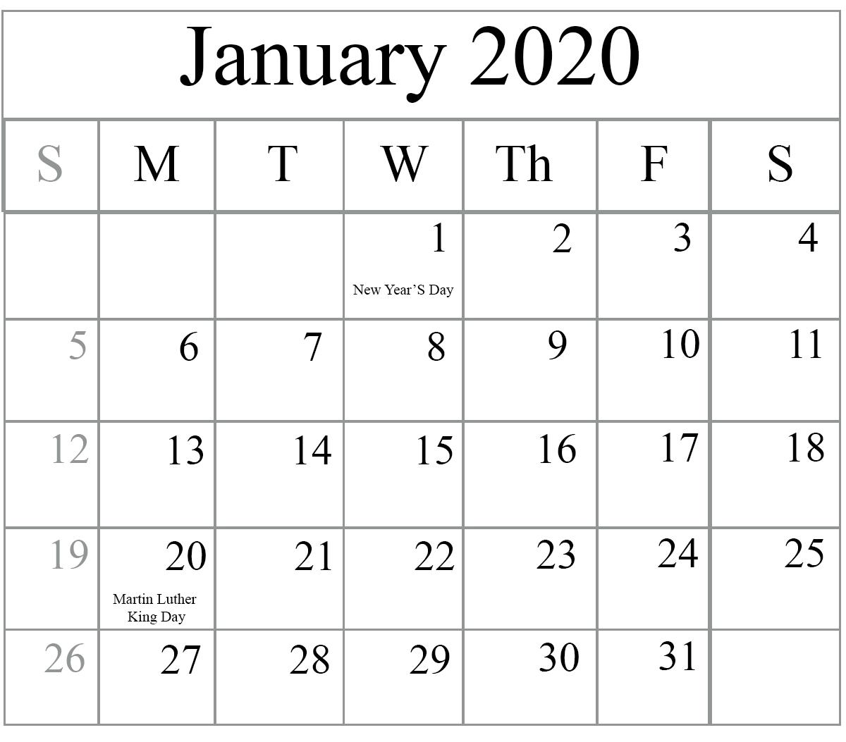 Free January 2020 Printable Calendar In Pdf, Excel & Word  Calendar To Write On 2020