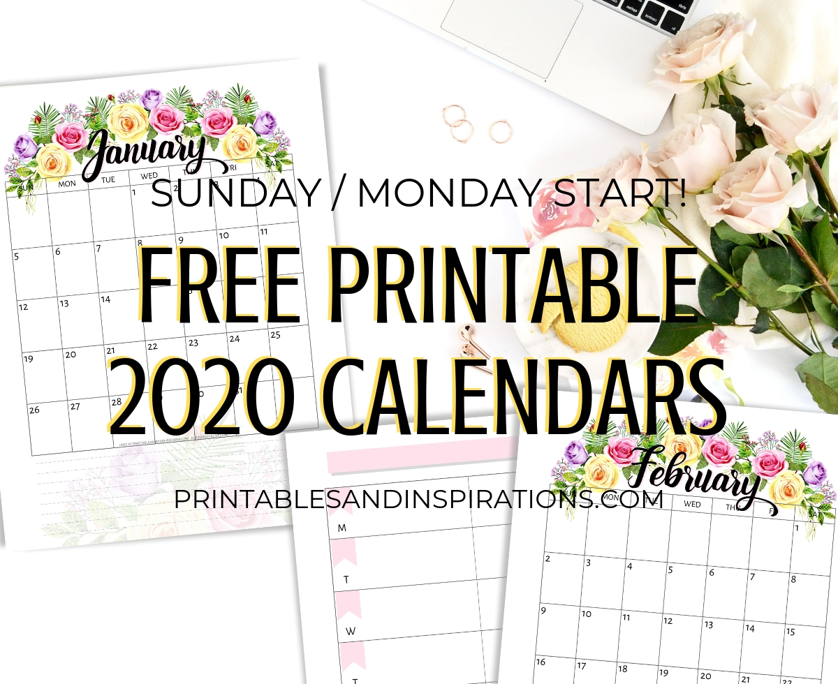 Free Printable 2020 Calendar With Flowers - Printables And  2020 Full Size Calendar Free Printable
