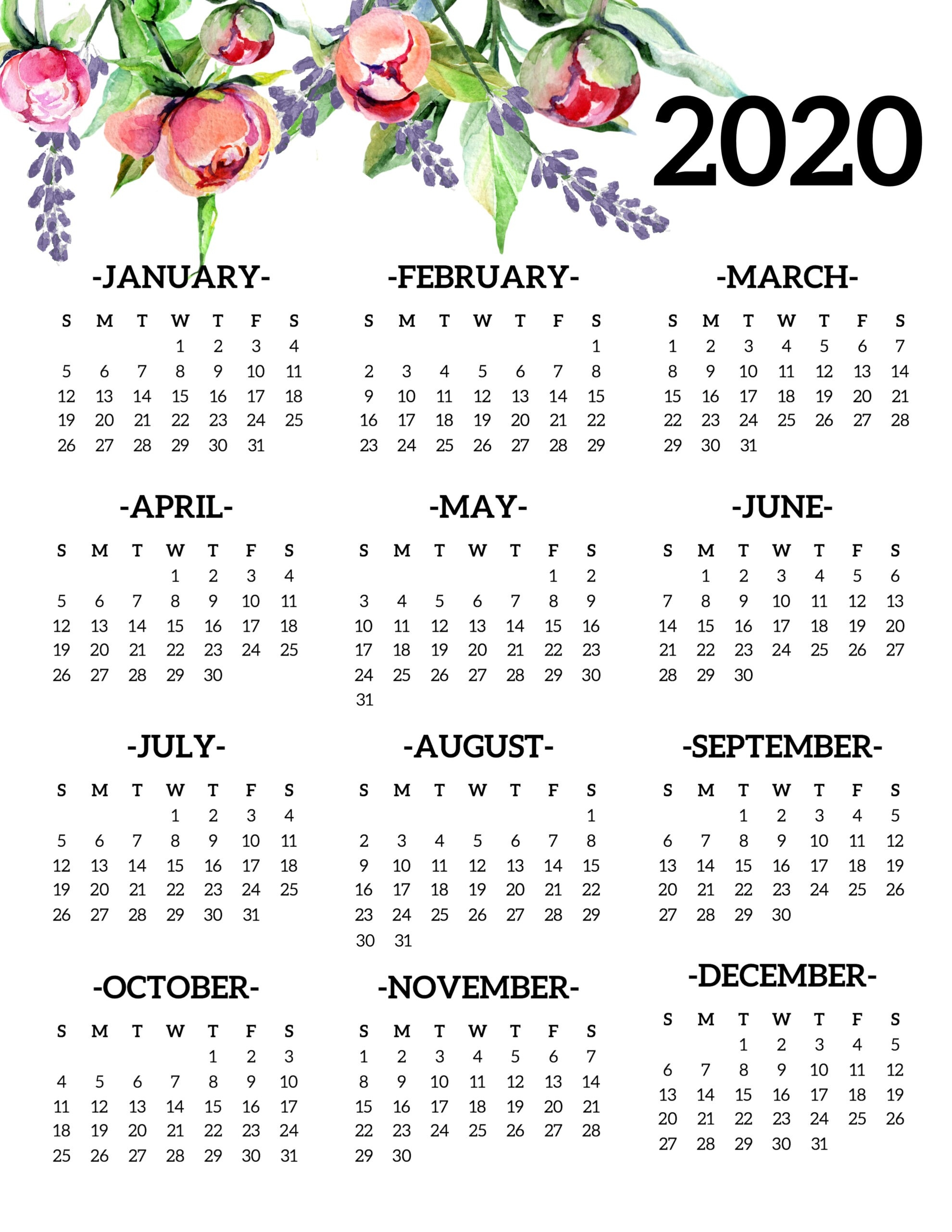 Free Printable 2020 Calendar Yearly One Page Floral - Paper  Printable Full Page Calendar 2020