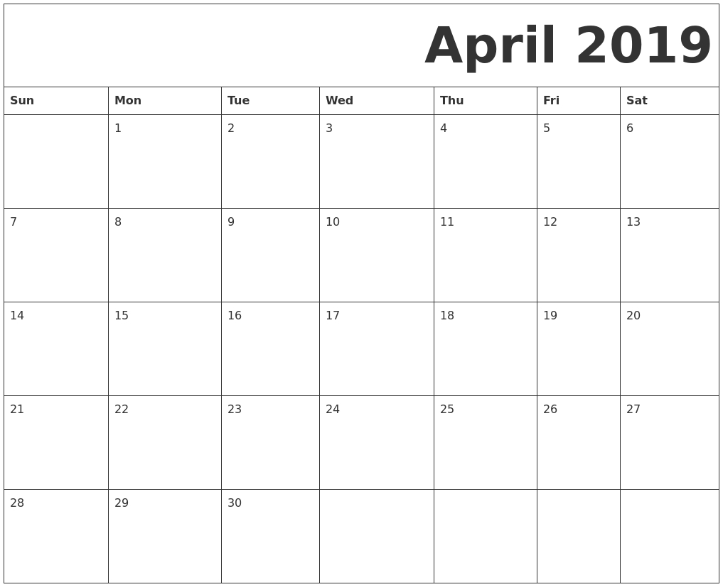 Free Printable April 2019 Calendar Full Page #tumblr  Full Page Calender