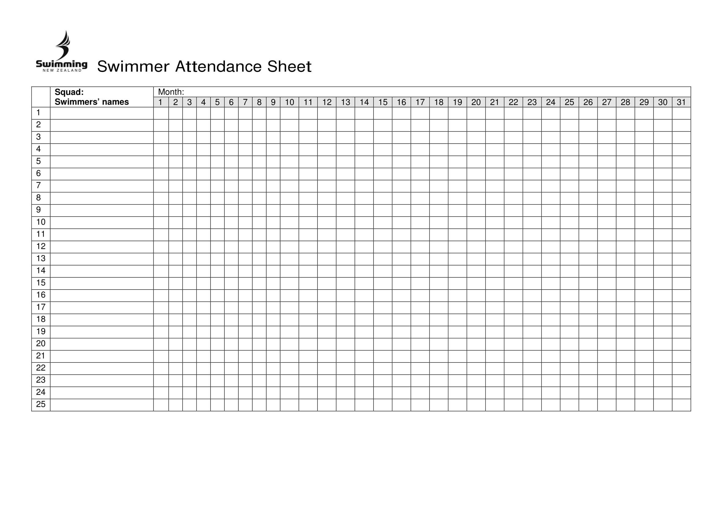 Free Printable Attendance Sheet Excel Pdf, Word, Template  Free Printable 2020 Employee Attendance Sheet