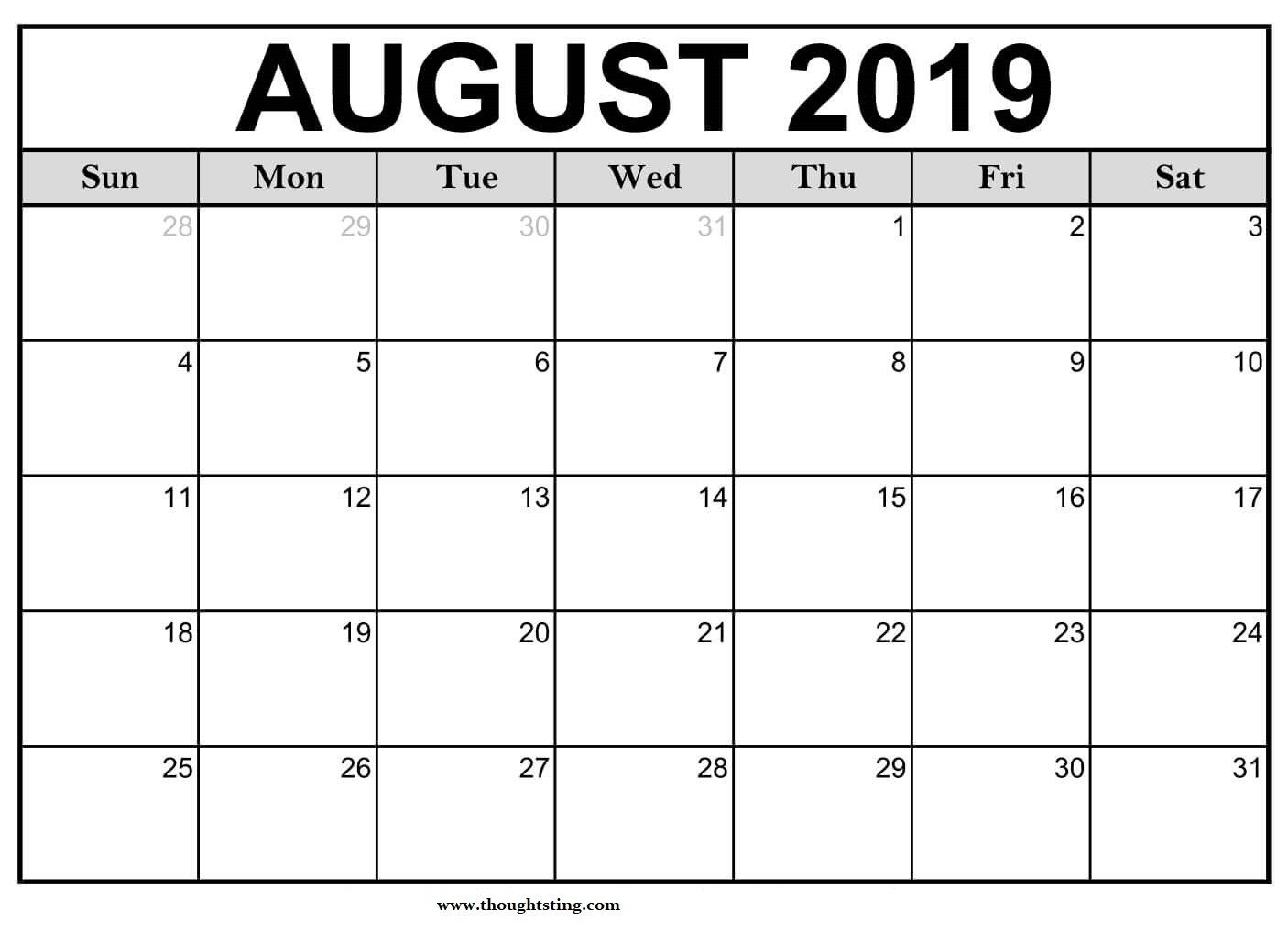 Free Printable August 2019 Calendar Landscape - Free  Monthly Calendar Printable Full Page