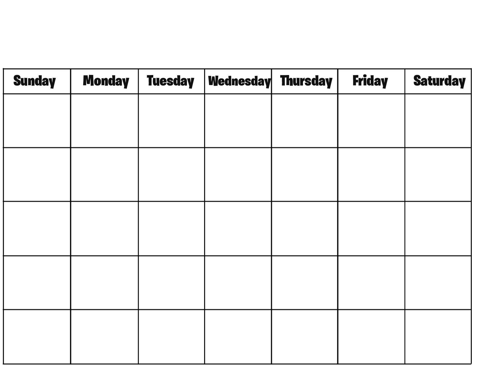 Free Printable Blank Calendar Pages Printable Calendar  Full Page Calendar Printable