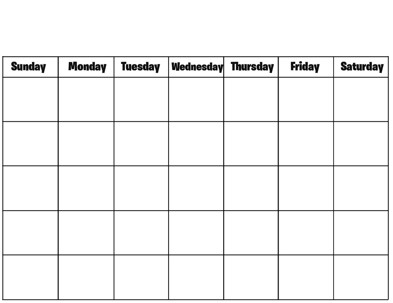Free Printable Blank Calendar Pages Printable Calendar  Full Page Calender