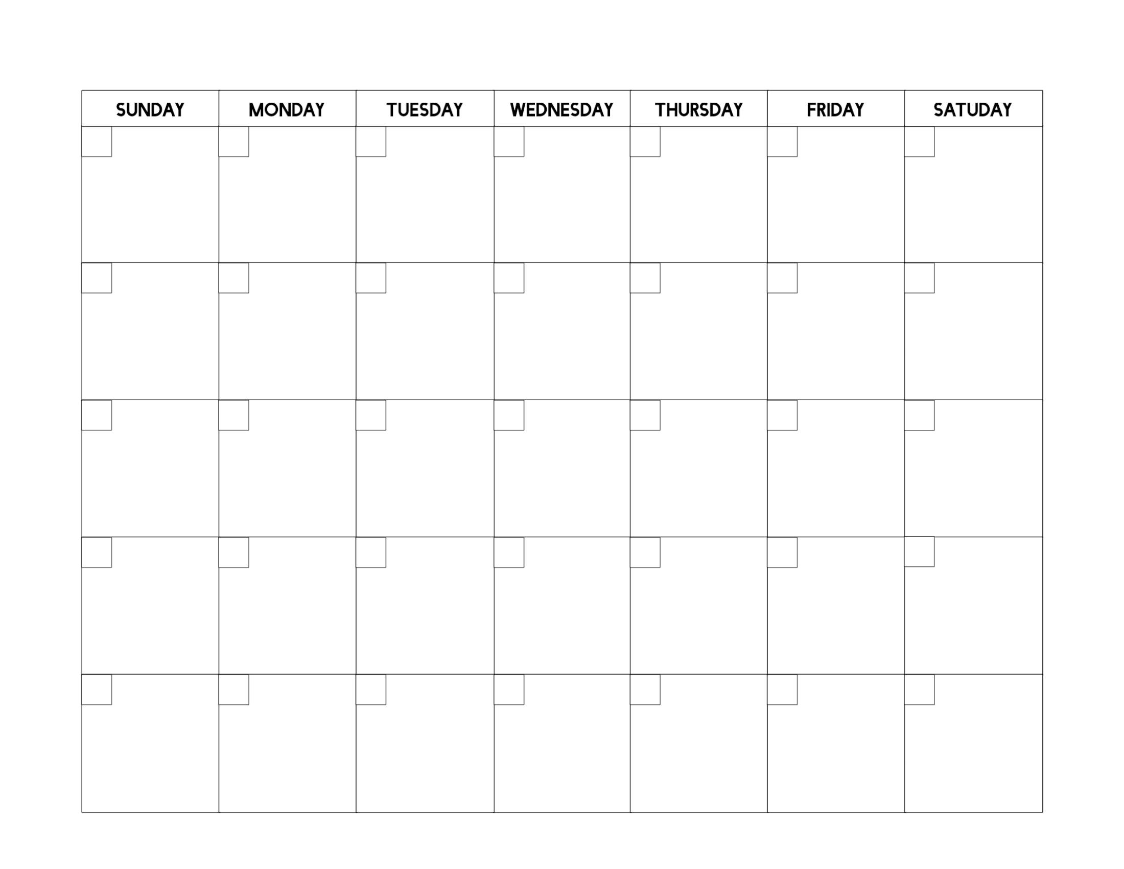 Free Printable Blank Calendar Template - Paper Trail Design  Printable Fill In Calendar Temoplate