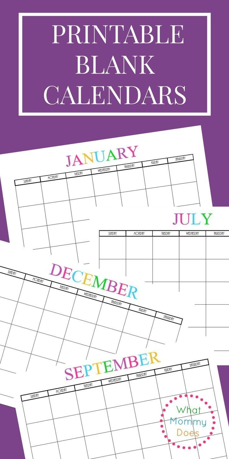 Free Printable Blank Monthly Calendars – 2018, 2019, 2020  2020 Calendar With Open Squares