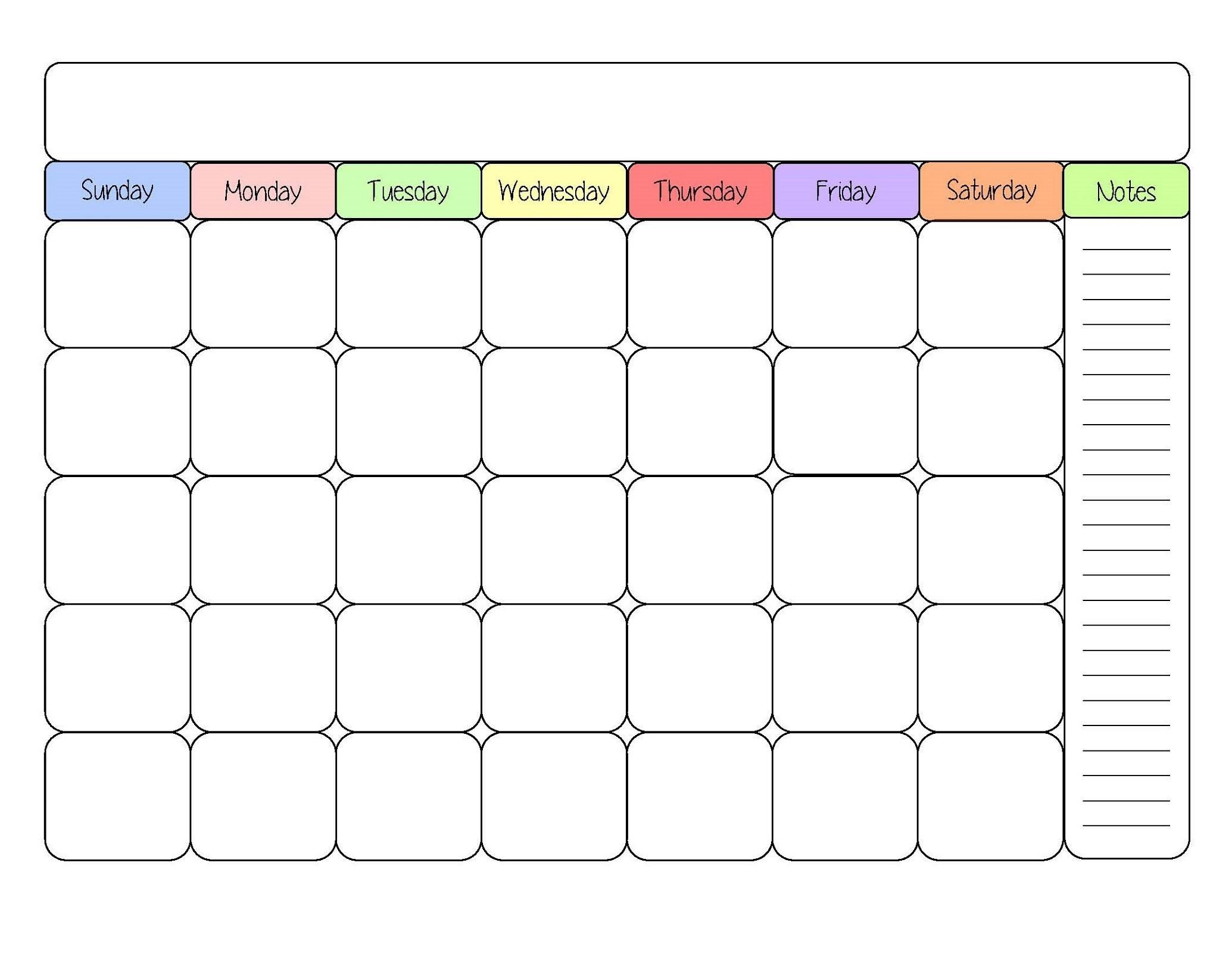Free Printable Calendar Templates Interesting In Fill In  Printable Fill In Calendar Temoplate