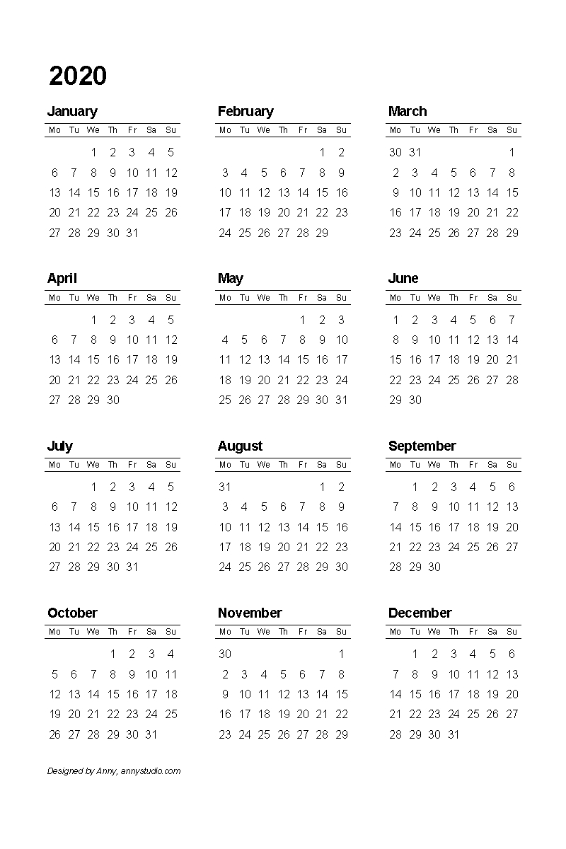 Free Printable Calendars And Planners 2019, 2020, 2021, 2022  2020 Full Size Calendar Free Printable
