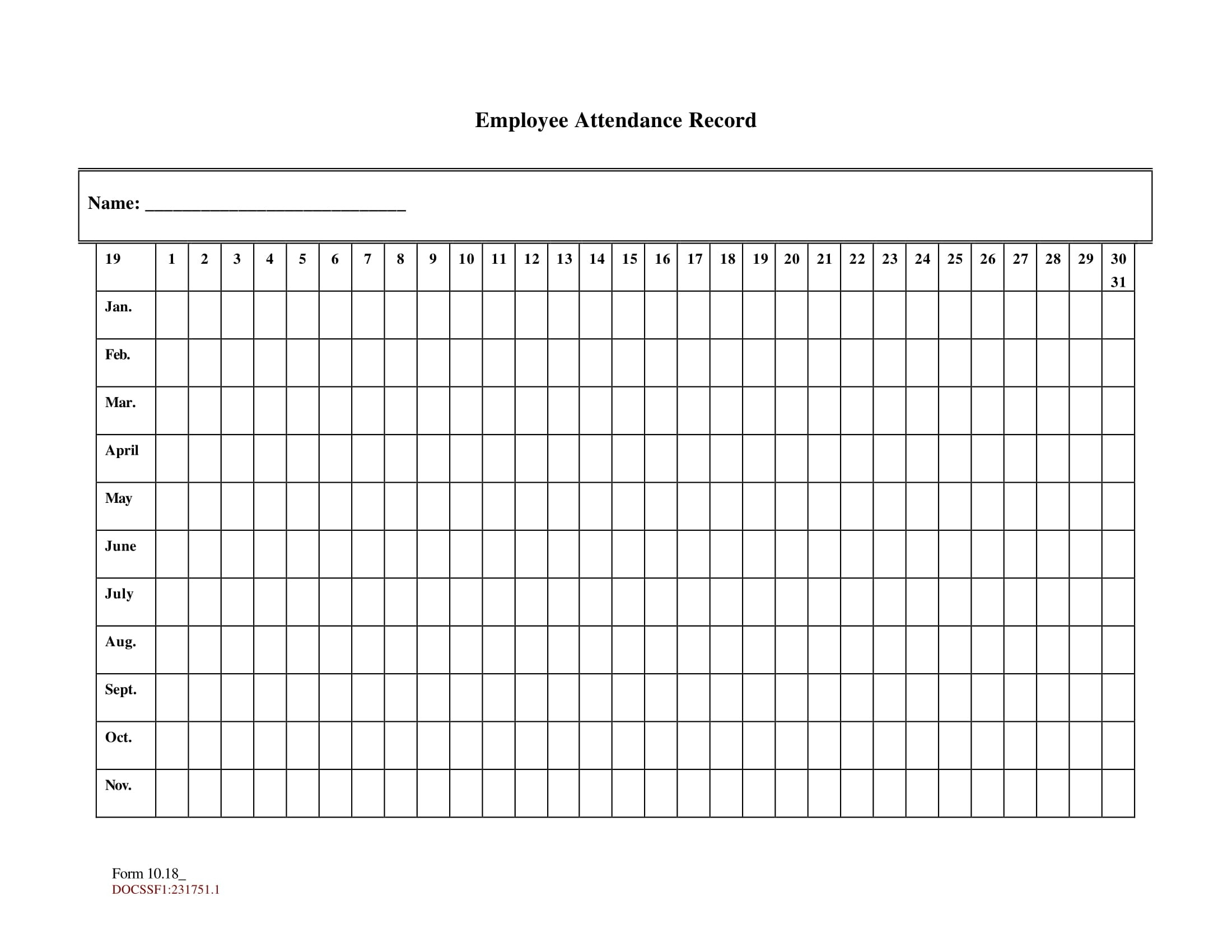 Free Printable Employee Attendance Sheet Pdf, Word, Excel  Free Printable 2020 Employee Attendance Sheet