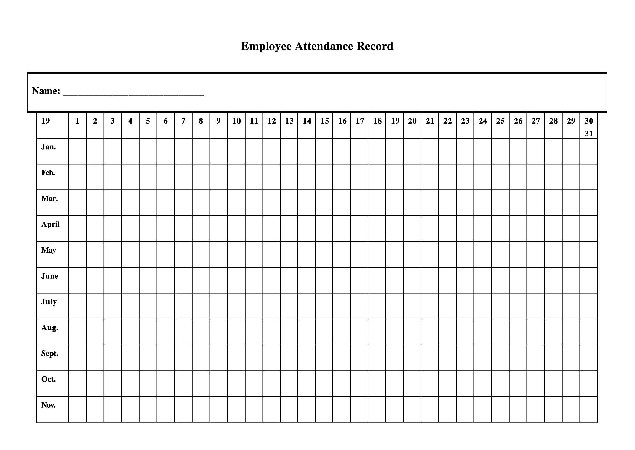 Free Printable Employee Attendance Sheet Pdf, Word, Excel  Free Printable 2020 Employee Attendance Sheet