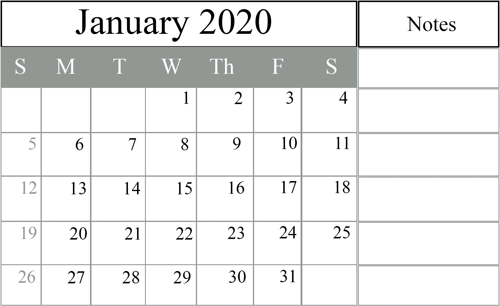 Free Printable January 2020 Calendar Editable In Pdf, Excel  Military Julian Calendar 2020 Printable