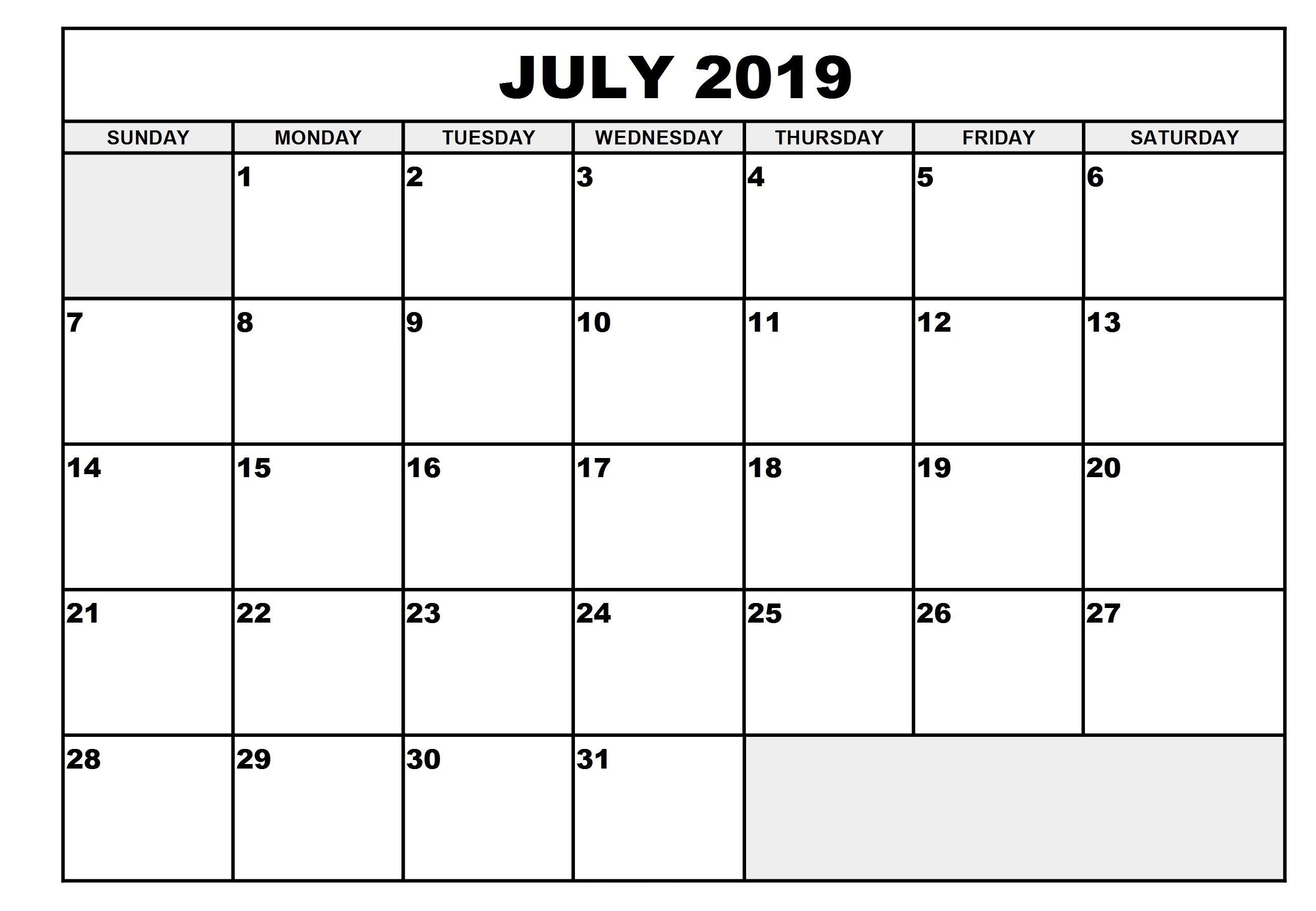 Free Printable July 2019 Calendar Full Page | Free Printable  Full Page Calendar Template