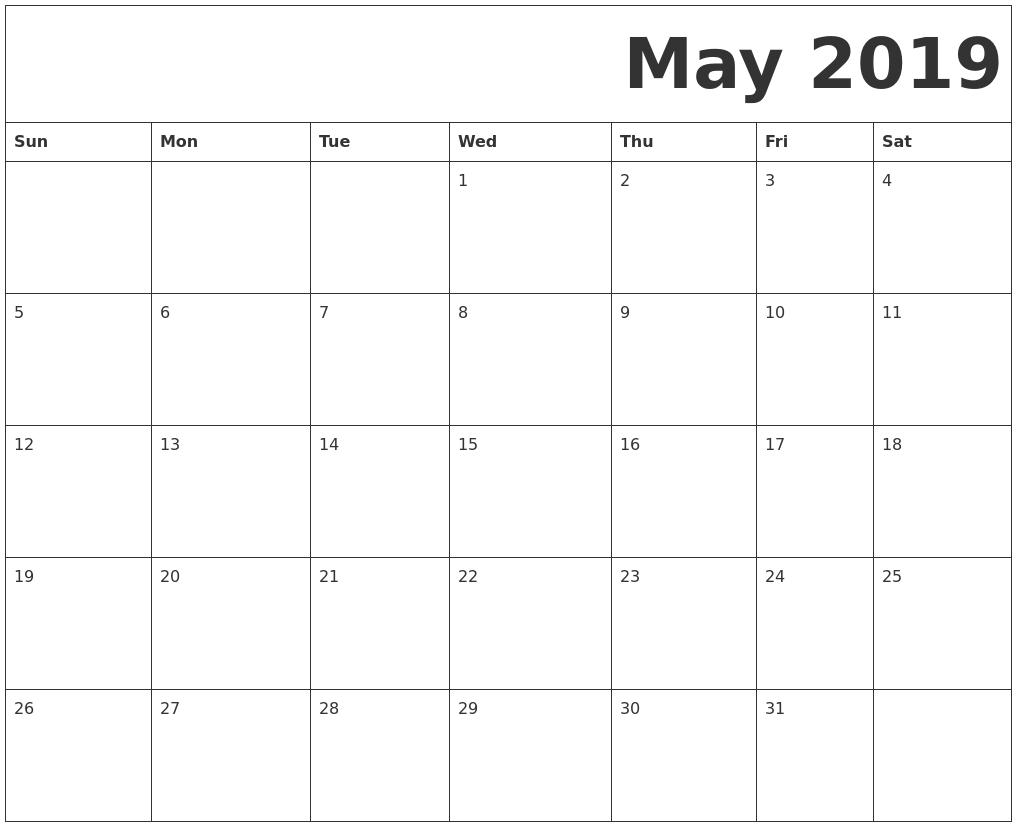 Free Printable May 2019 Calendar Full Page | Blank May 2019  Full Page Calendar Template
