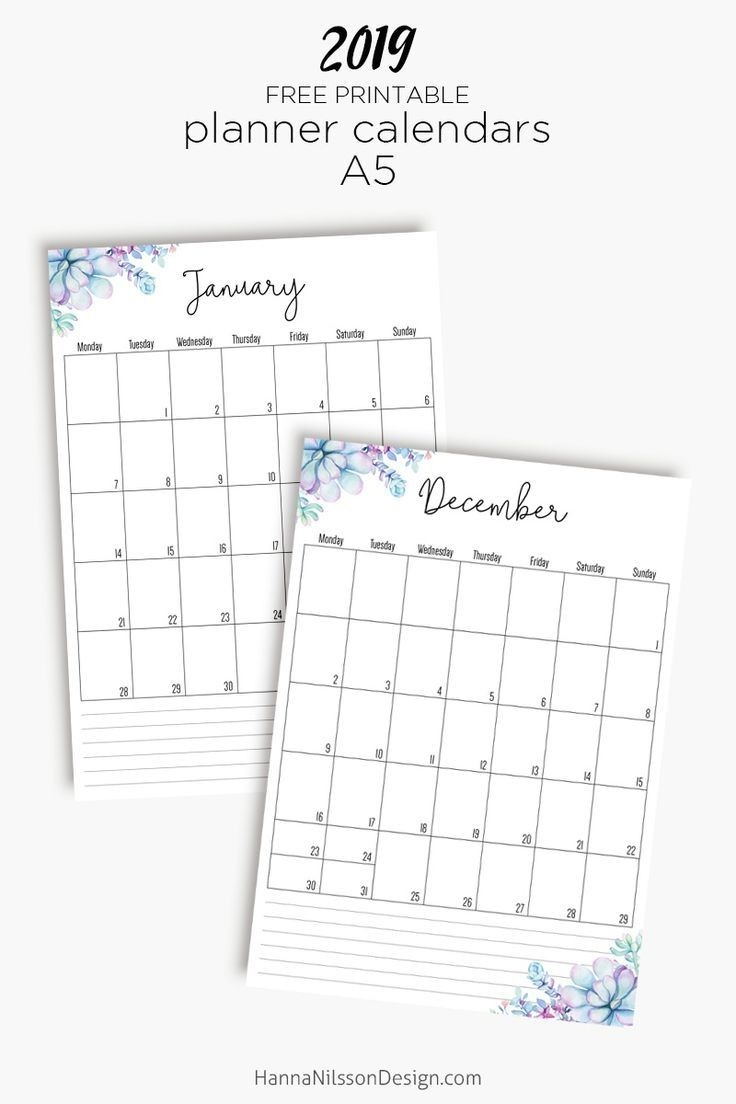 Free Yearly Calendar | Journaling My Life | Monthly Planner  Pretty Monthly Calendar