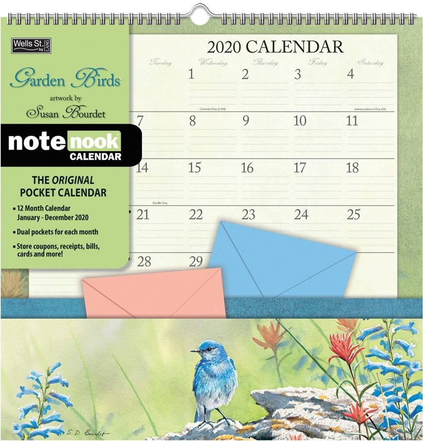 Garden Birds 2020 Note Nook Pocket Calendar  2020 Bill Pay Calendar