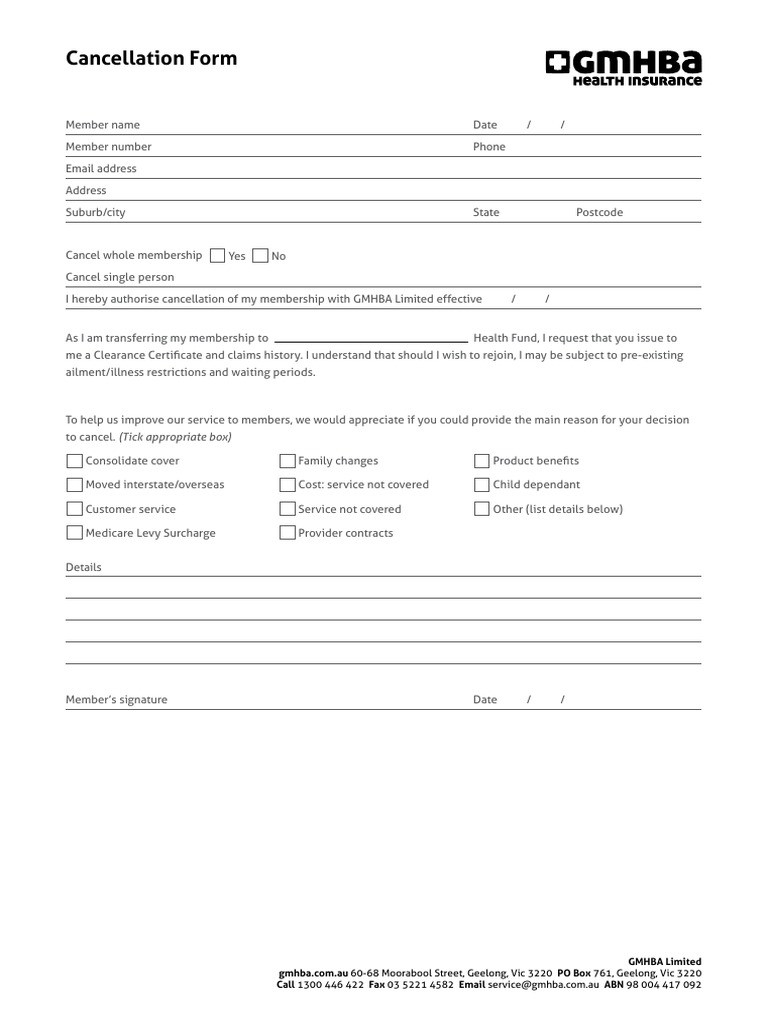 Gmhba Cancellation Form - Docshare.tips  Gmhba Calender Or Financial Year